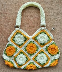 FLORAL BAG 7 Gold Hand Crochet Multicolor Floral by jennysunny