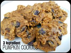 3 Ingredient Pumpkin Chocolate Chip Cookies - one of the easiest desserts you will ever make!