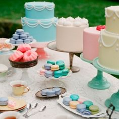 Loving the fresh spring-y color palette in this dessert table (from Ruche's new lookbook, Tea for Two!)
