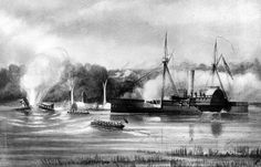 """NH 51794:  """"'Wyalusing' at Rainbow Bluff, N.C.""""  SSinking of the 'Otsego' and blowing up of the 'Bazeley.'""""  Phototype by F. Gutekunst, Philadelphia, Pennsylvania, circa the later 19th Century. This print depicts the U.S. Navy tug Bazely striking a mine while going to the assistance of USS Otsego, near Jamestown, North Carolina, on the Roanoke River, 9 December 1864. Otsego, which had just been sunk by other mines, is in the left center ba..."""