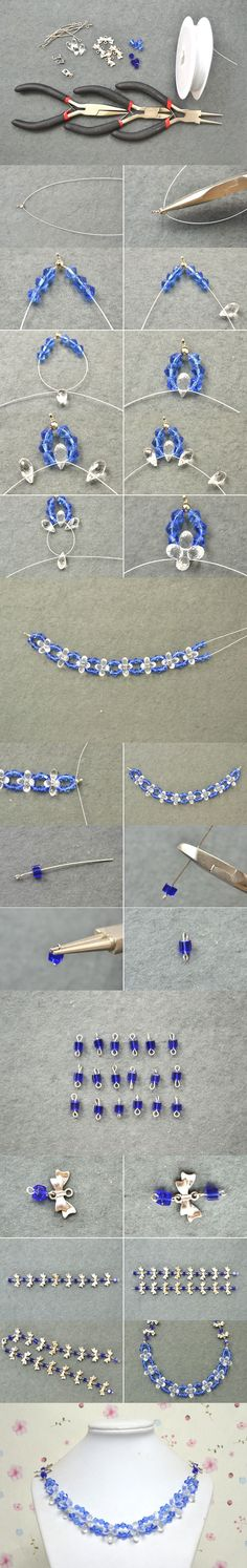 Tutorial on How to Make Sapphire Crystal Lotus Necklaces at Home from LC.Pandahall.com #pandahall