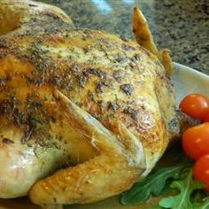 Perfect Roast Chicken Allrecipes.com.  I used butter instead of margarine and I cooked it in the crock pot with no added water. Melts in your mouth.