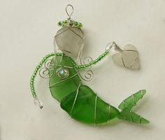 Aqua Sea Glass Mermaid Ornament Suncatcher or by oceansbounty, $25.00