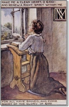 Cicely Mary Barker - Religious Works - SPCK Postcard 1916 - The Prayer Painting