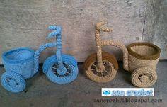 Zan Crochet: Bicycle Vase, free pattern, amigurumi, decoration, planter, #haken, gratis patroon, fiets met bakje, plantenhouder