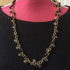 Beaded necklaceHP 11/5 Gold chain with white and black beads Banana Republic Jewelry Necklaces