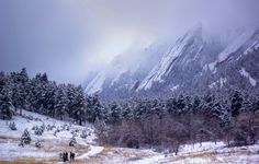 My home town, Boulder, CO. An almost surreal winter shot of the Flatirons.