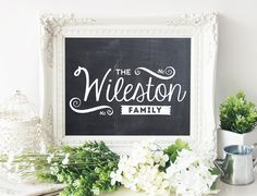 Last Name Wall Decor personalized family name chalkboard - housewarming gift