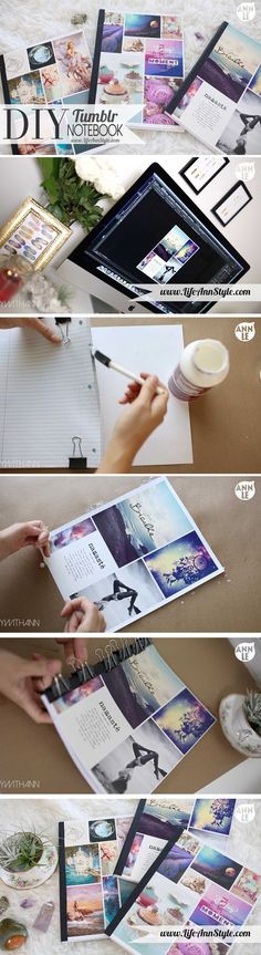DIY tumblr inspired notebook. cute way to redecorate your notebook or make one from scratch using loose leaf paper, mod-podge, and a print out photo collage for the cover.: