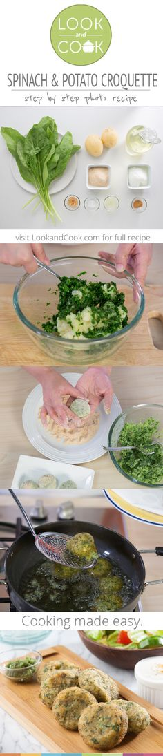 SPINACH & POTATO CROQUETTE RECIPE Spinach & Potato Croquette Recipe (#LC14134): Get step by step photo recipe at lookandcook.com