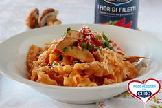 Reginette con funghi porcini e pomodori | Cirio di badalu.it #foodblogger #pomodoro #ricetta #recipes #tomato #recipe #italianrecipe #funghi #funghiporcini