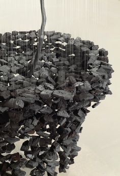 Suspended Charcoal Installations by Korean artist Seon Ghi Bahk