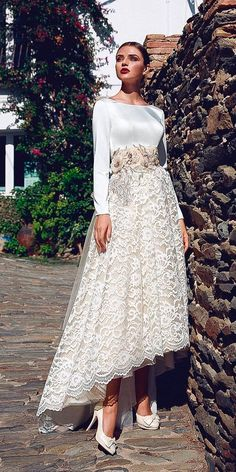 24 Gorgeous Tea Length Wedding Dresses ❤ tea length wedding dresses long sleeves lace with floral ornament ariamo bridal ❤ See more: http://www.weddingforward.com/tea-length-wedding-dresses/ #weddingforward #wedding #bride