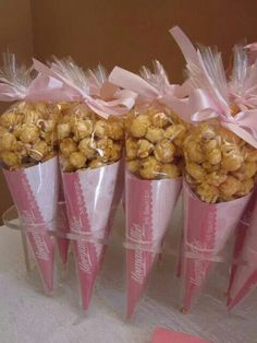 Blue and white caramel popcorn cones