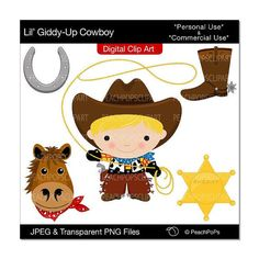 clip art digital clipart wild west horse sheriff - Lil Giddy-Up Cowboy - Blonde Hair - Digital Clip Art - Personal Commercial Use