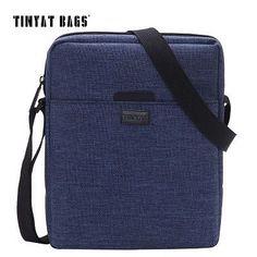 TINYAT Men's Crossbody Bag Multifunctional Casual Bag Quality Men Shoulder Messenger Bags Canvas Handbag Women Blue Red T510