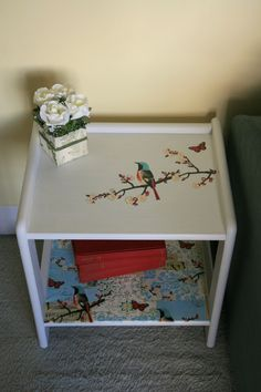 A bit of decoupage and this table was transfromed by Lingering Light Studios! Bird Bedside Table, £75.00