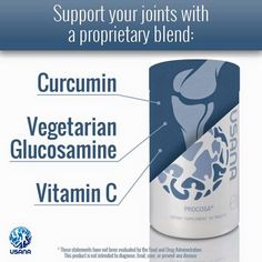 Healthy joint support with USANA Procosa joint supplement. Made with a curcumin complex and more effective than other glucosamine products. 30 day money back guarantee Nutrition Tips, Health And Nutrition, Health Fitness, Health Care, True Health, Wellness Company, The Cure, Vitamins, Health Products