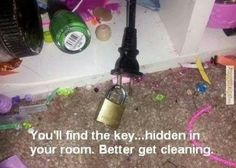 Perfect! Punishment for a teen/ preteen who won't clean their room