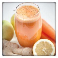 Lemon Ginger Zinger: Jason Vale:  2 carrots, 2 apples, 1 thumb sized chunk of ginger, 1/2 lemon (wax free and skin on)