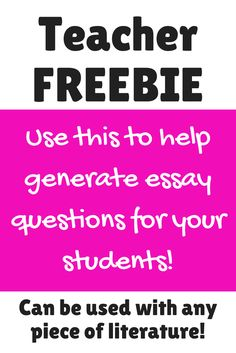 Download this FREE resource to help you generate essential / essay questions for your novel units! We've included an entire blog post to help you, too!