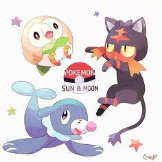 The new starters for Pokemon Sun and Moon: Litten, Rowlet, and Popplio Pokemon Tv Show, Pokemon Alola, Pokemon Gijinka, Pokemon Cards, Pikachu, Sawyer Pokemon, First Video Game, Video Games, Pokemon Universe