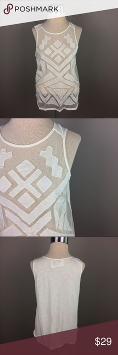 Lucky Brand paneled mesh sleeveless cream top Condition: New with Tags  Color: cream  Measurements: Size medium Underarm to underarm is approximately 19 inches across.  Length from top of shoulder to bottom of hem is approximately 25inches. Front is sheer.  Materials: see photo of tag (Bin G) Lucky Brand Tops
