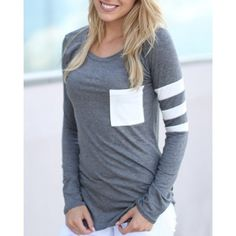 Wholesale Charming Scoop Neck Color Block Striped Sleeve T-Shirt For Women Only $5.38 Drop Shipping | TrendsGal.com