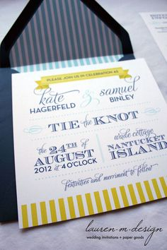 Nautical Wedding Invitation Suite (Sample) in blue and yellow. $3.75, via Etsy.