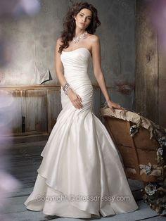 Trumpet/Mermaid Sweetheart Satin Sweep Train White Ruffles Wedding Dresses