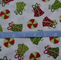 Christmas Fabric, Red and Green Christmas Presents on White Fabric, Quilting Fabric By The Yard, Cotton Yardage, Fat Quarter, By The Yard