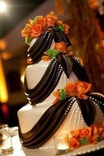 Wedding Cake with orange flowers