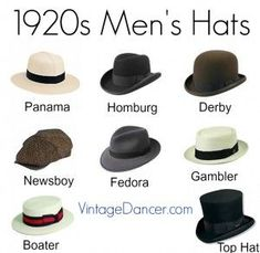 1920s men's hats at vintagedancer.com  Panama, homburg, derby or bowler, newsboy, fedora, gambler, boater and top hat. #MensFashionParty