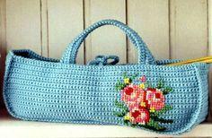 Схема вязания крючком сумки с розой