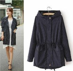 Spring Autumn Women's Korean Casual Cute Polka Dot Loose Trench Jacket Coat Blue