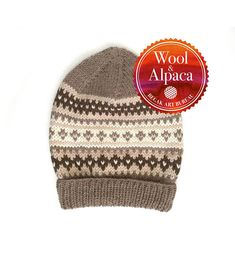 Brown Hat Fair Isle Hat Hand Knit Hat Wool Beanie Slouchy Fair Isle Knitting, Hand Knitting, Knitting Patterns, Hand Knitted Sweaters, Knitted Hats, Mittens, Wool, Stitch, Brown
