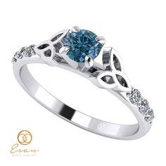 Inel din aur alb cu diamant albastru si diamante incolore ES103 Aur, Wedding Rings, Engagement Rings, Jewelry, Fashion, Enagement Rings, Moda, Jewlery, Jewerly