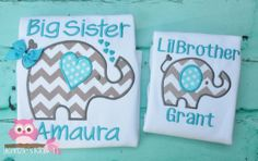 "Big Sister and Little Brother set ""Matching"" Short Sleeve shirt  Custom made, Personalized Big Sister Big Sis on Etsy, $46.00"