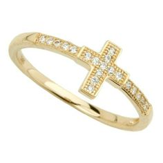 14K Yellow Gold Cubic Zirconia Religious Cross Ring (Size 4 to 9) The World Jewelry Center. $103.00. High Polished Finish. Simply Elegant. Promptly Packaged with Free Gift Box and Gift Bag