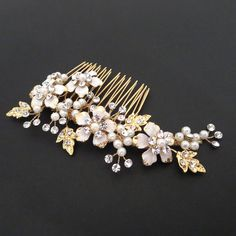 Gold Bridal hair comb Gold Wedding headpiece by TheExquisiteBride, $55.00
