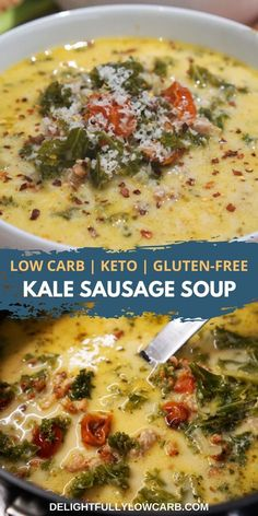 This Low Carb Kale Sausage Soup is one of our favorite low-carb soups with hearty chunks of sausage and kale in a creamy broth. Kale Soup Recipes, Low Carb Chicken Recipes, Healthy Low Carb Recipes, Low Carb Dinner Recipes, Diet Recipes, Cooking Recipes, Low Carb Soups, Low Carb Chicken Soup, Chicken Kale Soup