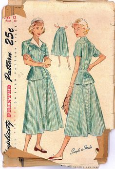 40s Official 4-H Club Suit Dress Vintage Sewing Pattern