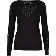 Per Una Speziale Pointelle Slash Neck Jumper ($75) ❤ liked on Polyvore featuring tops, sweaters, black, holiday tops, black boat neck top, black long sleeve jumper, long sleeve jumper and black boatneck sweater