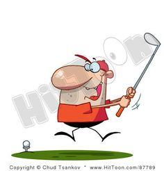 Excited Toon Guy Swinging His Golf Club