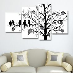 'Abstract Black Birds' 4-piece Hand Painted Canvas Art - Overstock Shopping - Top Rated DESIGN ART Canvas
