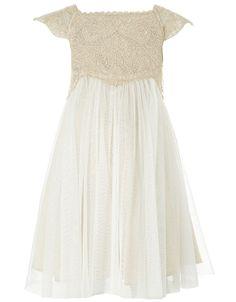 Baby Estella Sparkle Dress | Gold | Monsoon (Dedication)