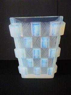 VASE ART DECO VERRE OPALESCENT SABINO VERLYS ETLING in Céramiques, verres, Verre, cristal, Verre | eBay