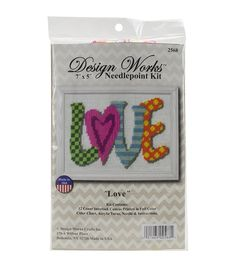 Love Needlepoint Kit, 7 inch x 5 inch Stitched In Yarn, Multicolor Canvas Fabric, Canvas Prints, Needlepoint Kits, Yarn Needle, Joanns Fabric And Crafts, Weekend Is Over, One Color, Craft Stores, It Works