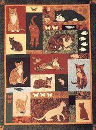 Free cat Quilt Block - http://quiltingimage.com/free-cat-quilt-block/