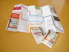Z-card (credit card unfolds into map, event / wedding info, etc.) and the design of metro maps